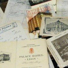 Facturas antiguas: GRAN LOTE 33 FACTURAS Y CATALOGO PUBLICIDAD HOTELES AÑOS 20 - 30 RITZ PALACE CONTINENTAL HOTEL. Lote 189589808