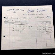 Facturas antiguas: OLESA DE MONTSERRAT AÑO 1916 / TEJIDOS DE ALGODON - JOSÉ CODINA. Lote 190087667