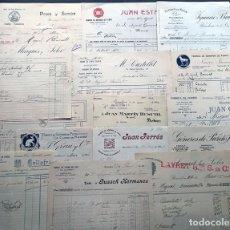 Facturas antiguas: 15 FACTURAS DIFERENTES / AÑOS 10-20 / FABRICA GENEROS PUNTO - TEJIDOS - CORSES / BARCELONA. Lote 190088332