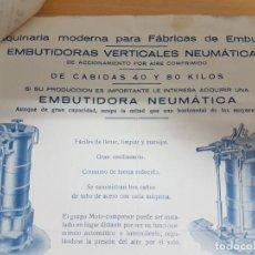 Facturas antiguas: FACTURA MAQUINARIA ELABORACION DE EMBUTIDOS - MARZO DE 1936 + HOJA MUESTRARIO EMBUTIDORA NEUMATICA.. Lote 190391317