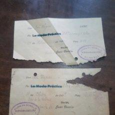 Facturas antiguas: RECIBÍ O FACTURA VIUDA DE BONILLO. KIOSCO MADRILEÑO. ALMERÍA 1936 Y 1939. Lote 190920647