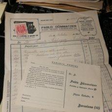 Facturas antiguas: PABLO DUMMATZEN. FABRICA DE POSTALES 1943.. Lote 191520332