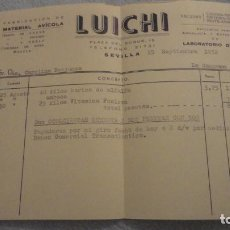 Facturas antiguas: ANTIGUA FACTURA.LUICHI.FABRICACION MATERIAL AVICOLA.LABORATORIO DROSAN.SEVILLA 1952. Lote 191654375