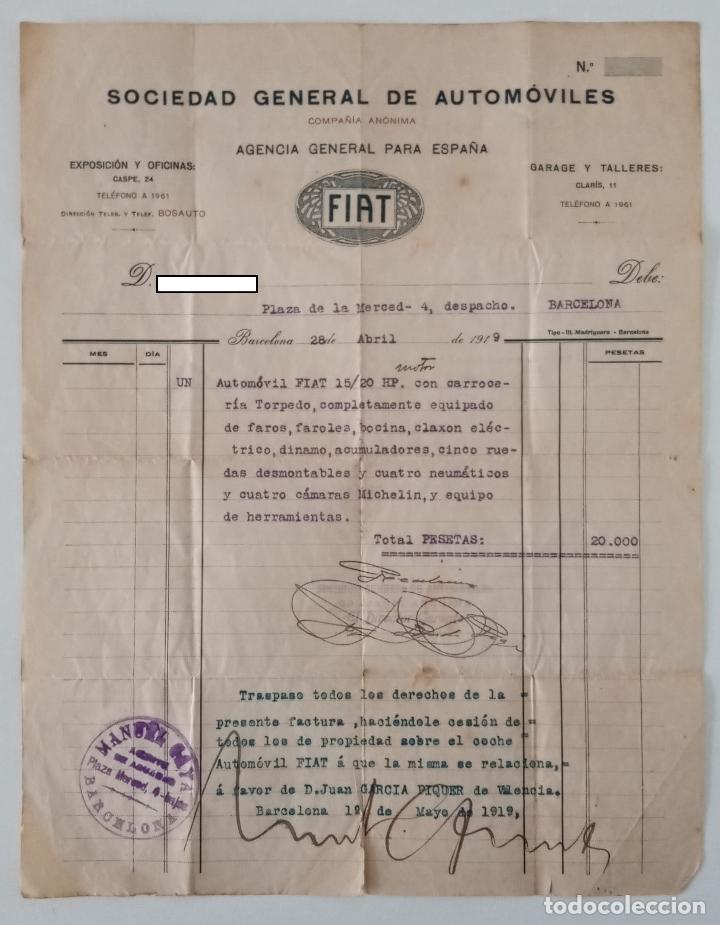 FACTURA SOCIEDAD GENERAL DE AUTOMOVILES. FIAT 15/20 HP TORPEDO. BARCELONA. 1919. W (Coleccionismo - Documentos - Facturas Antiguas)