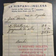 Facturas antiguas: ANTIGUA FACTURA PITILLERAS LA HISPANO INGLESA FREDDY'S COMITE DE INCAUTACION 14X10,6 CM. Lote 192369553