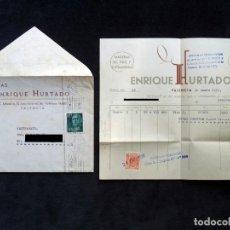 Facturas antiguas: FACTURA Y SOBRE MADERAS ENRIQUE HURTADO. VALENCIA, 1958. Lote 192411945