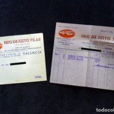 Facturas antiguas: FACTURA Y SOBRE SANITARIOS Y AZULEJOS, HIJO DE JUSTO MARTÍ, JOSÉ VILAR DAVID, VALENCIA, 1957 (2). Lote 192412043