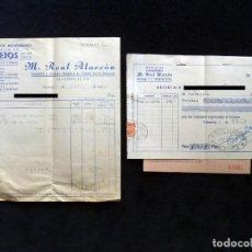 Facturas antiguas: LOTE FACTURA, ALBARAN Y RECIBO, AZULEJOS SANEAMIENTO, M. REAL ALARCÓN. NAQUERA, 1957. Lote 192413506