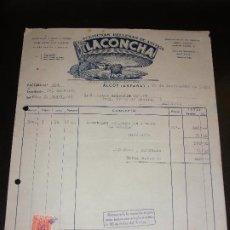 Fatture antiche: FACTURA DE ALCOY ALICANTE - ACEITUNAS DE ANCHOA LA CONCHA A ALICANTE 1954. Lote 192572168