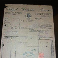 Facturas antiguas: FACTURA DE JABUGO HUELVA - FABRICA EMBUTIDOS ANGEL DELGADO SERRANO JAMONES CHORIZO - EL AVION 1954. Lote 192578333