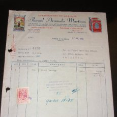 Fatture antiche: FACTURA DE ALBALAT DE LA RIBERA VALENCIA - ELABORACION DE ARROCES PASCUAL ARNANDIS ALUBIAS CHUFAS . Lote 192579421