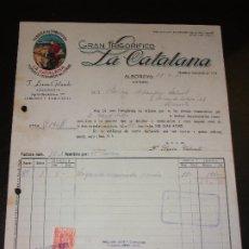 Fatture antiche: FACTURA DE ALBORAYA VALENCIA - FABRICA EMBUTIDOS LA CATALANA FIAMBRES CERDO LA CATALANA 1951. Lote 192581401