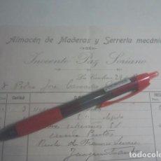 Facturas antiguas: ALMACÉN DE MADERAS Y SERRERÍA MECÁNICA - INOCENTE PAZ SORIANO - LA CAROLINA, JAÉN - 1915. Lote 192828320