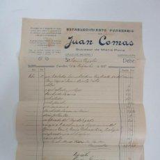 Facturas antiguas: FACTURA FUNERARIO - ESTABLECIMIENTO FUNERARIO JUAN COMAS, GRANOLLERS - AÑO 1913. Lote 192909195