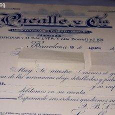 Facturas antiguas: LACALLE Y CIA FABRICANTE CORREAS GOMAS AMIANTO FÁBRICAS OFICINAS ALMACENES 1923 BORRELL BARCELONA. Lote 193116265