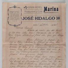 Facturas antiguas: INTERESANTE CARTA SOBRE FACTURA CON MEMBRETE GRAN HOTEL MARINA JOSÉ HIDALGO. MELILLA 1921. W. Lote 193339002
