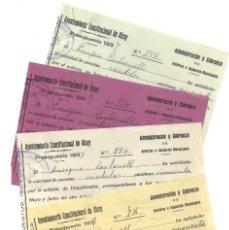 Facturas antiguas: 4 RECIBOS GUERRA CIVIL INQUILINATO COMPLETO AÑO COMPLETO DE 1937 AYUNTAMIENTO CONSTITUCIONAL ALCOY. Lote 193640152