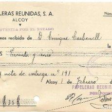 Facturas antiguas: ALCOY (ALICANTE) RECIBO PAPELERAS REUNIDAS INTERVENIDA POR EL ESTADO FEBRERO DE 1938 GUERRA CIVIL. Lote 193641168