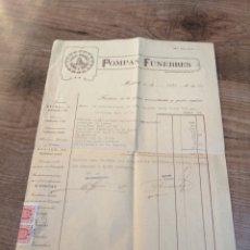 Facturas antiguas: FACTURA POMPAS FUNEBRES. ABRIL, 1939. POCOS DÍAS DESPUES DE ENTRAR FRANCO EN MADRID. POLIZAS FRANCO.. Lote 193941967