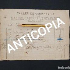 Facturas antiguas: TALLER DE CARPINTERÍA MANUEL LATORRE MANZANAREZ 1902 MAZARRÓN MURCIA . Lote 194163985