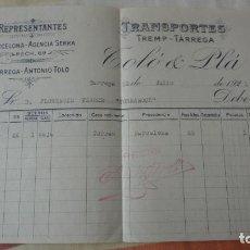 Facturas antiguas: ANTIGUA FACTURA.TRANSPORTES TREMP-TARREGA.TOLO Y PLA. TARREGA 1921. Lote 194234385