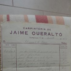 Facturas antiguas: ANTIGUA FACTURA.JAIME QUERALT TÓ.CARPINTERIA.TORNABOUS LERIDA 1924. Lote 194234835