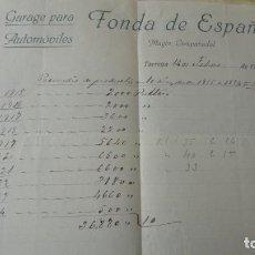 Facturas antiguas: ANTIGUA FACTURA.FONDA DE ESPAÑA.GARAGE PARA AUTOMOVILES.MAGIN CAMPABADAL.TARREGA 1925. Lote 194235063