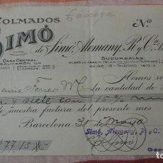 Facturas antiguas: ANTIGUO RECIBO PAGO.COLMADOS SIMÓ.SIMÓ,ALLEMANY,PI Y CIA.BARCELONA 1926. Lote 194236265