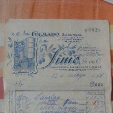 Facturas antiguas: ANTIGUA FACTURA.COLMADO SUCURSAL.REFINERIA ACEITE.SIMÓ BARCELONA 1921. Lote 194236532