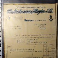 Facturas antiguas: BILBAO, FACTURA ANTIGUA MACHIMBARRENA Y MOYUA, BARNICEZ Y PINTURAS, 1933. Lote 194331961