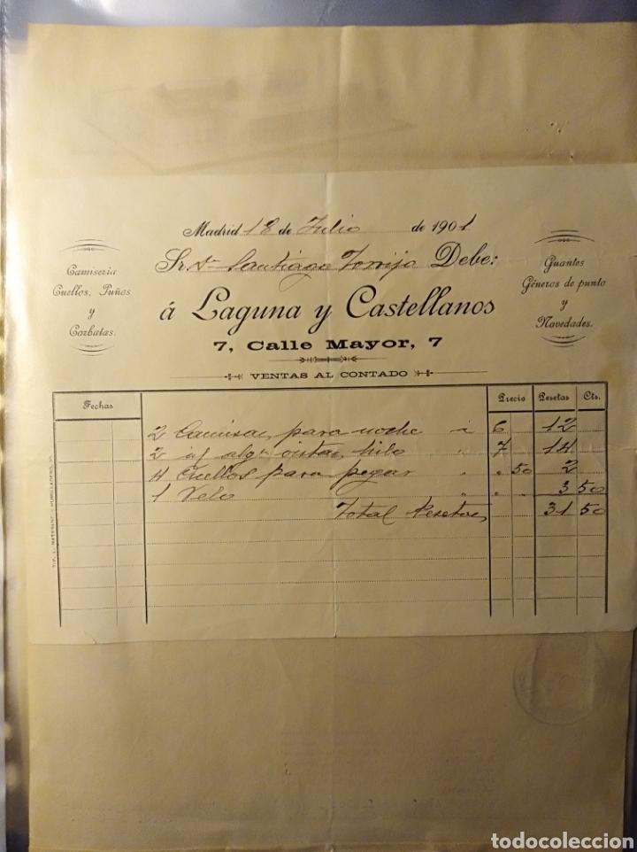MADRID, FACTURA ANTIGUA 1901, LAGUNA Y CASTELLANOS, CAMISERIA Y CORBATAS (Coleccionismo - Documentos - Facturas Antiguas)