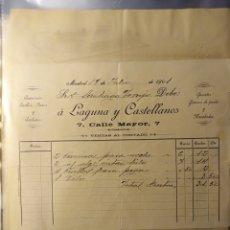 Faturas antigas: MADRID, FACTURA ANTIGUA 1901, LAGUNA Y CASTELLANOS, CAMISERIA Y CORBATAS. Lote 194333588