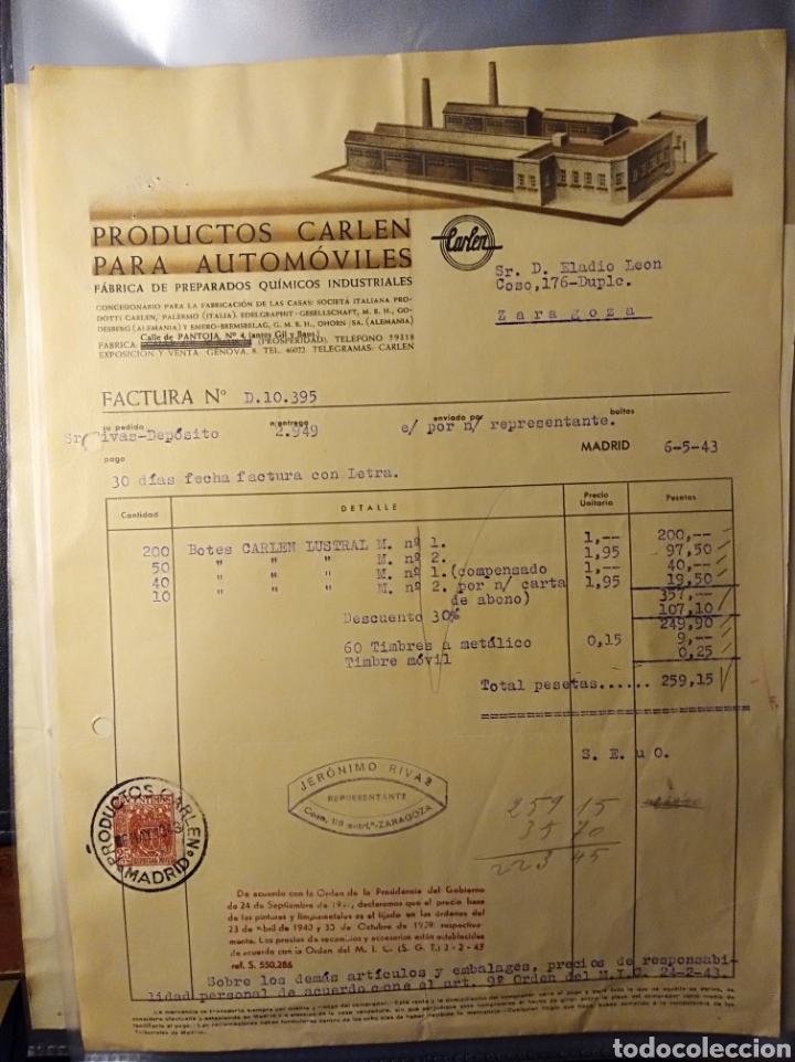 MADRID, FACTURA ANTIGUA 1943, PRODUCTOS CARLEN PARA AUTOMÓVILES (Coleccionismo - Documentos - Facturas Antiguas)