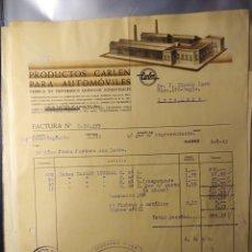 Faturas antigas: MADRID, FACTURA ANTIGUA 1943, PRODUCTOS CARLEN PARA AUTOMÓVILES. Lote 194333926