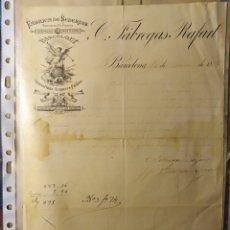 Facturas antiguas: BARCELONA, CATALUÑA, FACTURA ANTIGUA DE 1883 FABREGAS RAFART. FABRICA DE SEDERIAS. Lote 194334162