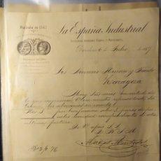 Facturas antiguas: BARCELONA, CATALUÑA, FACTURA ANTIGUA DE 1887, LA ESPAÑA INDUSTRIAL. Lote 194334364