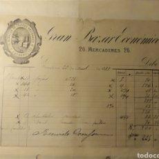 Facturas antiguas: PAMPLONA, NAVARRA, FACTURA ANTIGUA DE 1889, GRAN BAZAR ECONÓMICO, TEJIDOS. Lote 194334585