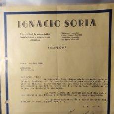 Facturas antiguas: PAMPLONA, NAVARRA, FACTURA ANTIGUA DE IGNAVIO SORIA, ELECTRICIDAD AUTOMÓVIL, OSRAM. Lote 194334874