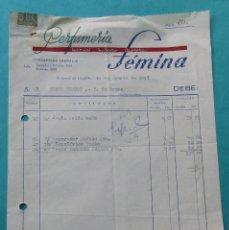 Facturas antiguas: FACTURA DE PERFUMERIA FÉMINA. FERROL. 1957.. Lote 194364107