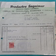 Facturas antiguas: FACTURA. FÁBRICA DE CHOCOLATES, BOMBONES Y CACAOS. PRODUCTOS SUGUIMAR. FERROL 1957.. Lote 194364308