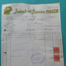Facturas antiguas: FACTURA. INDUSTRIAL QUÍMICA ´MAGER´. 1957. VIGO, FERROL.. Lote 194364967