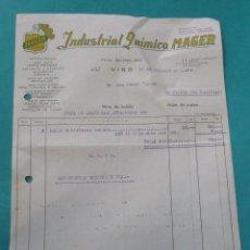 Facturas antiguas: FACTURA. INDUSTRIAL QUÍMICA ´MAGER´. 1956. VIGO, FERROL.. Lote 194365095