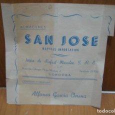Facturas antiguas: ALMACENES SAN JOSE. HIJOS DE RAFAEL MORALES. CORDOBA. Lote 194706810