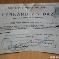 Facturas antiguas: SASTRERÍA Y PAÑERÍA GALLEGA. FERNÁNDEZ Y BAZA. MELILLA 1941. TRAJE MILITAR. Lote 194707648