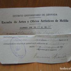 Facturas antiguas: DISTRITO UNIVERSITARIO DE GRANADA. ESCUELA DE ARTE Y OFICIOS DE MELILLA 1935. Lote 194708332