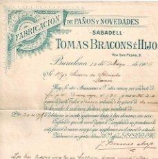 Facturas antiguas: FACTURA FABRICA DE PAÑOS Y NOVEDADES TOMÁS BRACONS E HIJO. SABADELL BARCELONA 1906. Lote 194722743