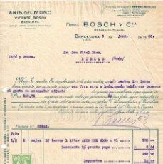 Facturas antiguas: FACTURA VICENTE BOSCH Y CIA. ANÍS DEL MONO. BARCELONA 1926. Lote 194723197