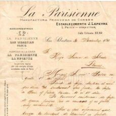Facturas antiguas: FACTURA MANUFACTURA FRANCESA DE CORSÉS J. LAPEYRE LA PARISIENNE SAN SEBASTIÁN 1911. Lote 194723558