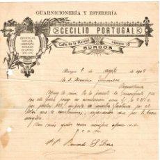 Facturas antiguas: FACTURA GUARNICIONERÍA Y ESTERERÍA CECILIO PORTUGAL. BURGOS 1918. Lote 194724298