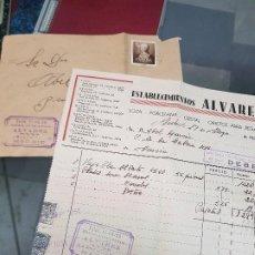 Facturas antiguas: ANTIGUA FACTURA Y SOBRE COMERCIAL ESTABLECIMIENTOS ALVAREZ MADRID 1951. Lote 194751892